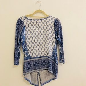Lucky Brand 3/4 Sleeve Blue Patterned Top